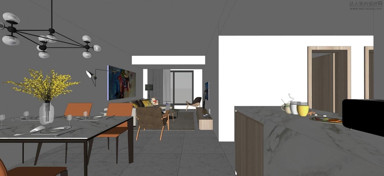 现代简约公寓Sketchup方案表现
