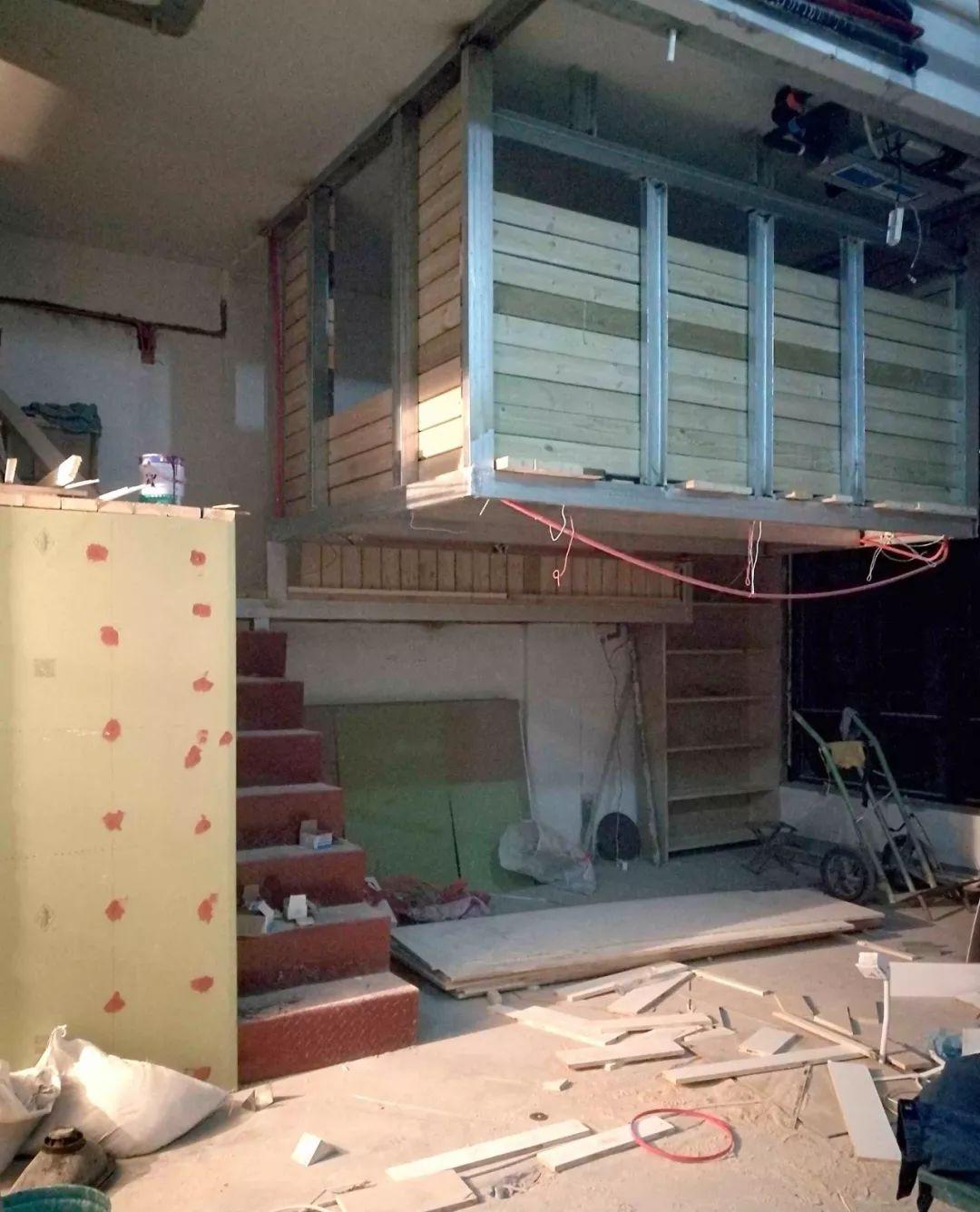 △钢结构 防腐木 石膏板就是整个卧室的结构