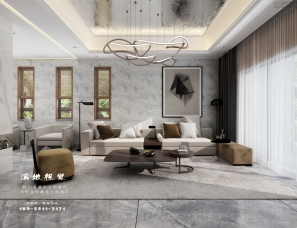 现代别墅黑白灰-效果图表现