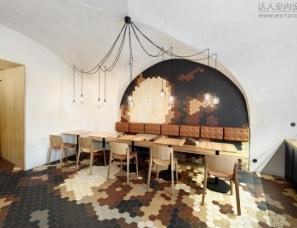 VRTIŠKA设计--六边形砖装饰的特色家庭酒吧