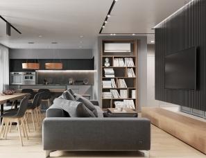 K BAND设计--基辅120m²简约高级灰公寓