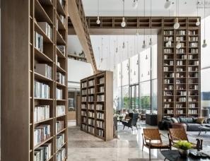 """尚壹扬设计--""""解构的图书馆""""1300㎡武汉凤起乐鸣销售中心"""