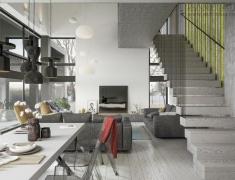 Andrei Lychkouski设计--灰色系简约住宅