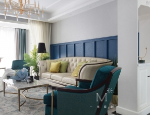 【一米家居】◣蓝调的旖旎时光◥锦绣花园130m²美式