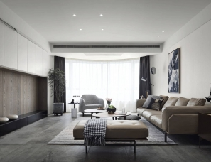 北岩设计--隐心|黑白灰调出的气质现代简约空间