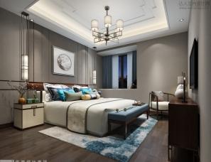 佐觉效果图----新中式卧室效果图