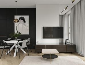莫斯科80㎡黑白灰风格设计