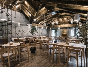 Leo D'uk Design--灰与木,180m²乌克兰YAVIR餐厅