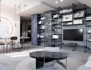 SMLXL studio--现代风阁楼公寓,形塑优雅设计感
