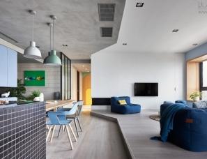 好室设计--围绕孩子与厨房的高雄150平米住宅Blue and Glue